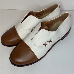 Vintage Womens Brown White Loafers Saddle Shoe 41